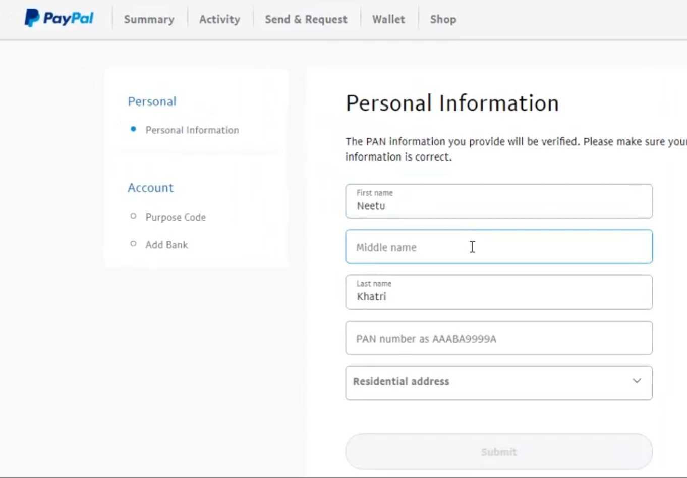 Personal information verify kaise kare Paypal me