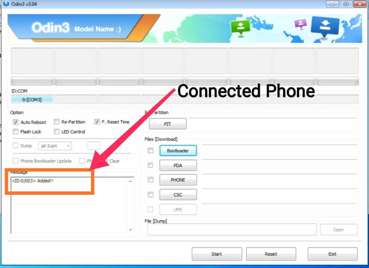 Connecting phone with odin software