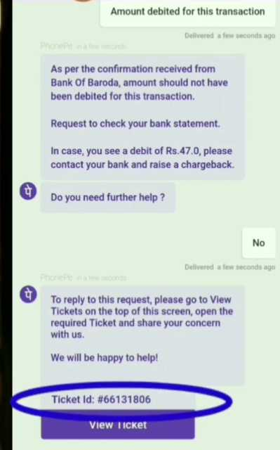 phonepe create ticket for money refund
