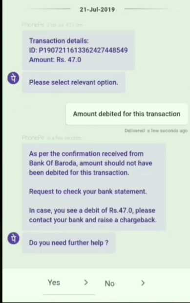 phonepe faild trasection refund
