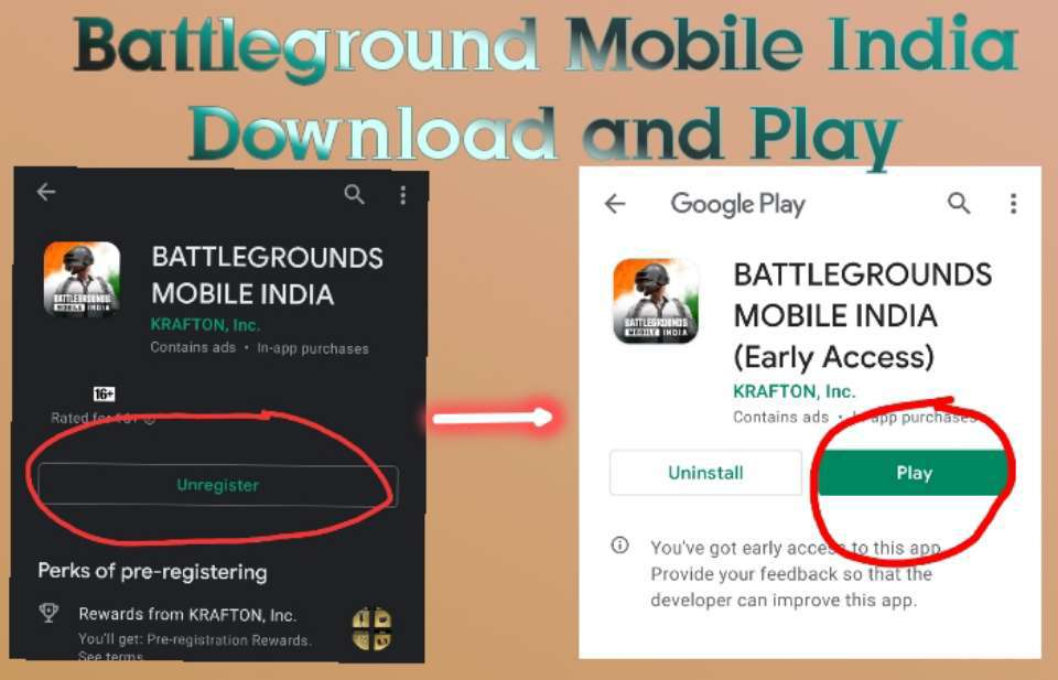 Battleground Mobile India Download Early access on Google play store